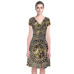 Gold Roman Shield Costume Short Sleeve Front Wrap Dress