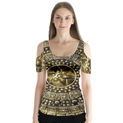 Gold Roman Shield Costume Butterfly Sleeve Cutout Tee