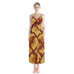 Snake Skin Pattern Vector Button Up Chiffon Maxi Dress