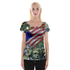 Usa United States Of America Images Independence Day Cap Sleeve Tops by BangZart