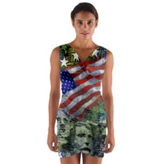 Usa United States Of America Images Independence Day Wrap Front Bodycon Dress