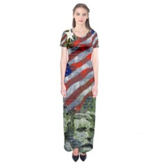 Usa United States Of America Images Independence Day Short Sleeve Maxi Dress