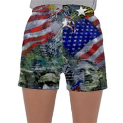 Usa United States Of America Images Independence Day Sleepwear Shorts by BangZart
