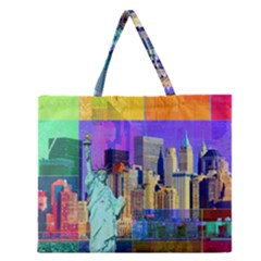 New York City The Statue Of Liberty Zipper Large Tote Bag