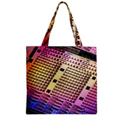 Optics Electronics Machine Technology Circuit Electronic Computer Technics Detail Psychedelic Abstra Zipper Grocery Tote Bag by BangZart