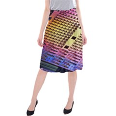 Optics Electronics Machine Technology Circuit Electronic Computer Technics Detail Psychedelic Abstra Midi Beach Skirt