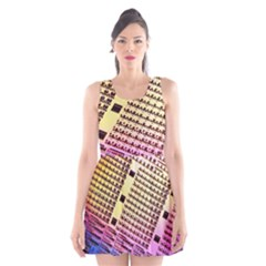 Optics Electronics Machine Technology Circuit Electronic Computer Technics Detail Psychedelic Abstra Scoop Neck Skater Dress