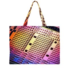 Optics Electronics Machine Technology Circuit Electronic Computer Technics Detail Psychedelic Abstra Zipper Large Tote Bag
