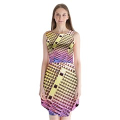 Optics Electronics Machine Technology Circuit Electronic Computer Technics Detail Psychedelic Abstra Sleeveless Chiffon Dress
