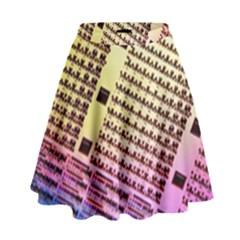 Optics Electronics Machine Technology Circuit Electronic Computer Technics Detail Psychedelic Abstra High Waist Skirt