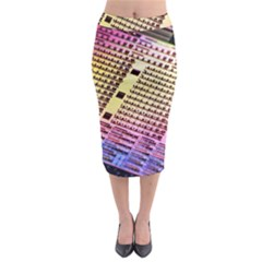 Optics Electronics Machine Technology Circuit Electronic Computer Technics Detail Psychedelic Abstra Midi Pencil Skirt