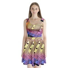 Optics Electronics Machine Technology Circuit Electronic Computer Technics Detail Psychedelic Abstra Split Back Mini Dress