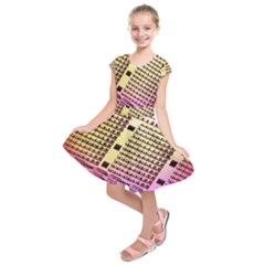 Optics Electronics Machine Technology Circuit Electronic Computer Technics Detail Psychedelic Abstra Kids  Short Sleeve Dress