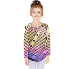 Optics Electronics Machine Technology Circuit Electronic Computer Technics Detail Psychedelic Abstra Kids  Long Sleeve Tee