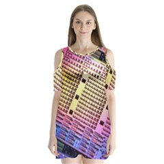 Optics Electronics Machine Technology Circuit Electronic Computer Technics Detail Psychedelic Abstra Shoulder Cutout Velvet  One Piece