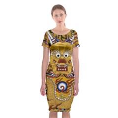 Chinese Dragon Pattern Classic Short Sleeve Midi Dress