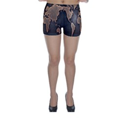 Grunge Map Of Earth Skinny Shorts