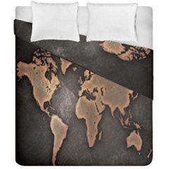 Grunge Map Of Earth Duvet Cover Double Side (california King Size)