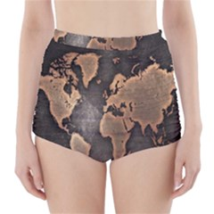Grunge Map Of Earth High Waisted Bikini Bottoms
