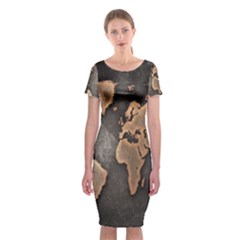 Grunge Map Of Earth Classic Short Sleeve Midi Dress