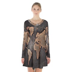 Grunge Map Of Earth Long Sleeve Velvet V Neck Dress