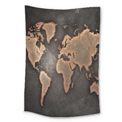 Grunge Map Of Earth Large Tapestry