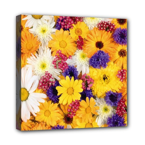 Colorful Flowers Pattern Mini Canvas 8  X 8