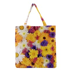 Colorful Flowers Pattern Grocery Tote Bag