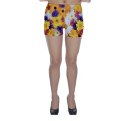 Colorful Flowers Pattern Skinny Shorts