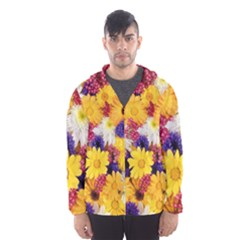 Colorful Flowers Pattern Hooded Wind Breaker (men) by BangZart