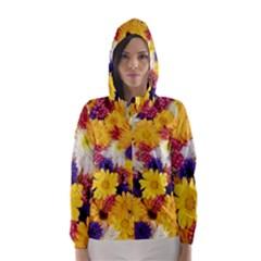 Colorful Flowers Pattern Hooded Wind Breaker (women)
