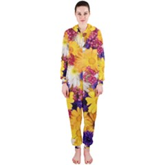 Colorful Flowers Pattern Hooded Jumpsuit (ladies)