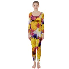 Colorful Flowers Pattern Long Sleeve Catsuit