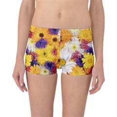 Colorful Flowers Pattern Boyleg Bikini Bottoms