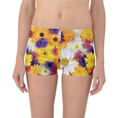 Colorful Flowers Pattern Reversible Boyleg Bikini Bottoms