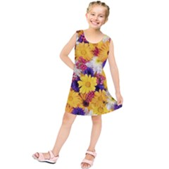 Colorful Flowers Pattern Kids  Tunic Dress