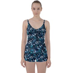 Old Spiderwebs On An Abstract Glass Tie Front Two Piece Tankini