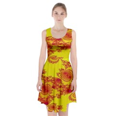 Floral Fractal Pattern Racerback Midi Dress