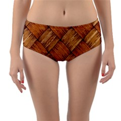 Vector Square Texture Pattern Reversible Mid Waist Bikini Bottoms