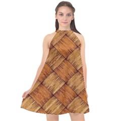 Vector Square Texture Pattern Halter Neckline Chiffon Dress