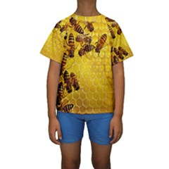 Honey Honeycomb Kids  Short Sleeve Swimwear