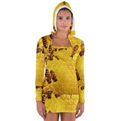 Honey Honeycomb Long Sleeve Hooded T Shirt