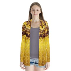 Honey Honeycomb Drape Collar Cardigan