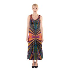 Casanova Abstract Art Colors Cool Druffix Flower Freaky Trippy Sleeveless Maxi Dress