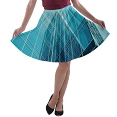 Glass Bulding A Line Skater Skirt by BangZart