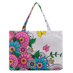 Flowers Pattern Vector Art Medium Zipper Tote Bag