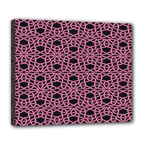 Triangle Knot Pink And Black Fabric Deluxe Canvas 24  X 20   by BangZart