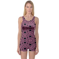 Triangle Knot Pink And Black Fabric One Piece Boyleg Swimsuit