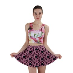 Triangle Knot Pink And Black Fabric Mini Skirt