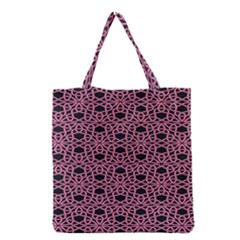 Triangle Knot Pink And Black Fabric Grocery Tote Bag